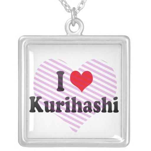I Love Kurihashi, Japan Square Pendant Necklace