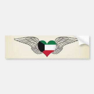 I Love Kuwait -wings Car Bumper Sticker