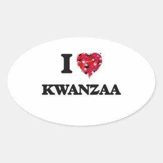 I Love Kwanzaa Oval Sticker