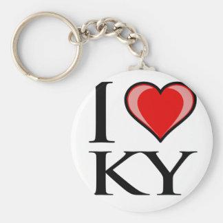 I Love KY - Kentucky Basic Round Button Keychain