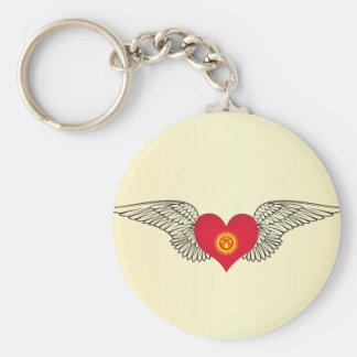 I Love Kyrgyzstan -wings Basic Round Button Keychain