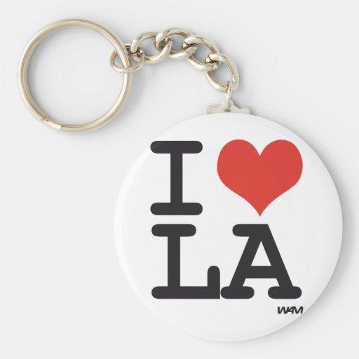 I love LA Basic Round Button Keychain