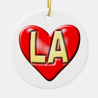 I Love LA Ceramic Ornament