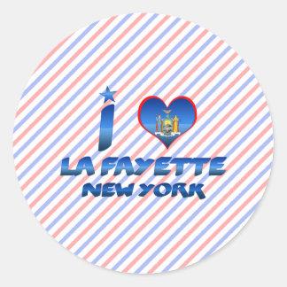 I love La Fayette, New York Classic Round Sticker
