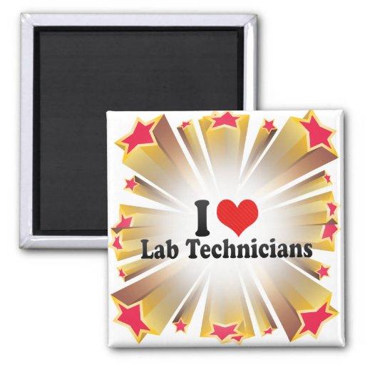 I Love Lab Technicians 2 Inch Square Magnet