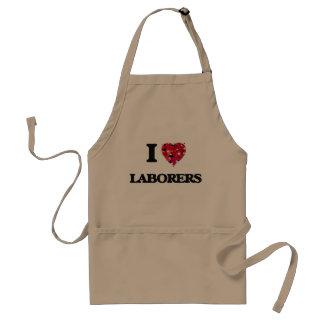 I Love Laborers Adult Apron