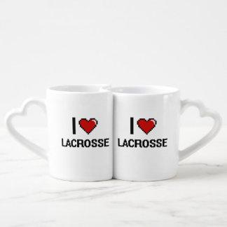 I Love Lacrosse Digital Retro Design Couples' Coffee Mug Set