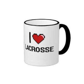 I Love Lacrosse Digital Retro Design Ringer Coffee Mug