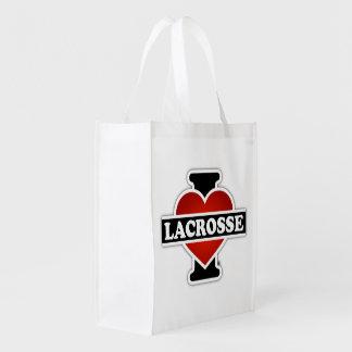 I Love Lacrosse Grocery Bag
