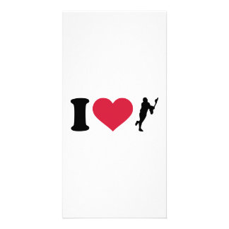 I love lacrosse player photo greeting card