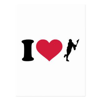 I love lacrosse player postcard