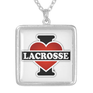 I Love Lacrosse Silver Plated Necklace