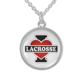 I Love Lacrosse Sterling Silver Necklace