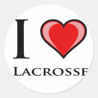 I Love Lacrosse Round Stickers