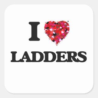 I Love Ladders Square Sticker
