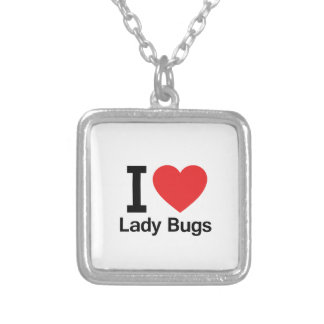 I Love Lady Bugs Square Pendant Necklace