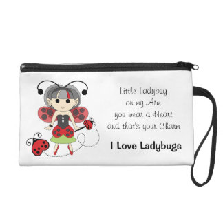 I Love Ladybugs Fairy Wristlet Quote Poem Bag