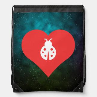 I Love Ladybugs Icon Drawstring Backpacks