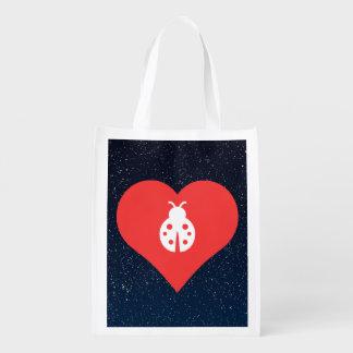 I Love Ladybugs Icon Reusable Grocery Bag