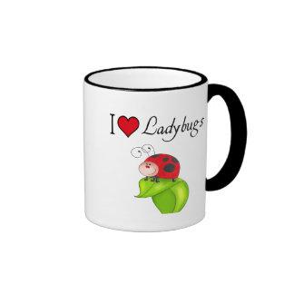 I Love Ladybugs Ringer Coffee Mug