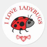 I Love Ladybugs Round Stickers