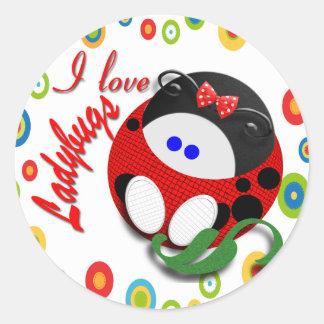 I love Ladybugs Classic Round Sticker