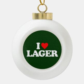 I LOVE LAGER CERAMIC BALL CHRISTMAS ORNAMENT