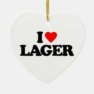 I LOVE LAGER Double-Sided HEART CERAMIC CHRISTMAS ORNAMENT