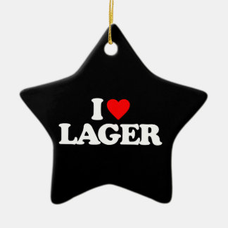 I LOVE LAGER Double-Sided STAR CERAMIC CHRISTMAS ORNAMENT