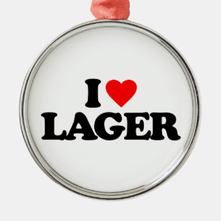 I LOVE LAGER ROUND METAL CHRISTMAS ORNAMENT