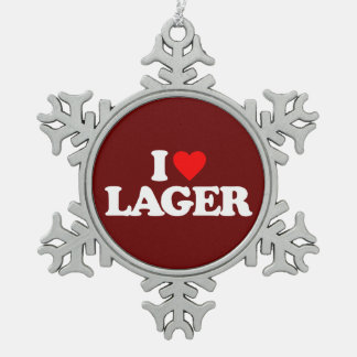 I LOVE LAGER SNOWFLAKE PEWTER CHRISTMAS ORNAMENT