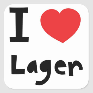 I love Lager Square Sticker