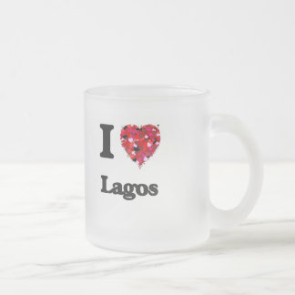 I love Lagos Nigeria 10 Oz Frosted Glass Coffee Mug