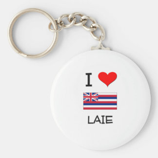 I Love LAIE Hawaii Basic Round Button Keychain