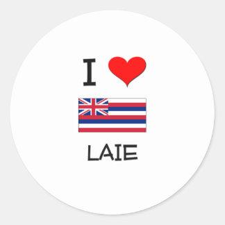 I Love LAIE Hawaii Round Sticker
