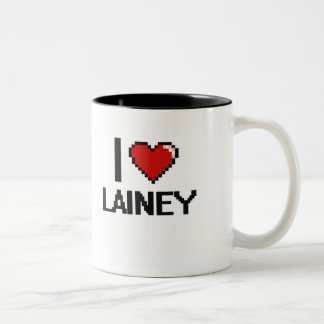 I Love Lainey Digital Retro Design Two-Tone Mug