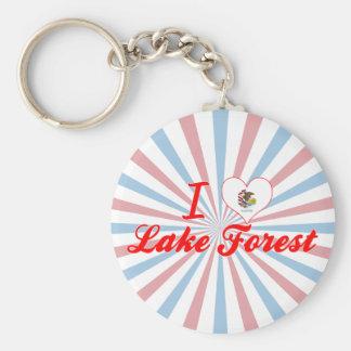 I Love Lake Forest, Illinois Basic Round Button Keychain