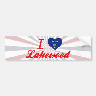 I Love Lakewood, Wisconsin Car Bumper Sticker