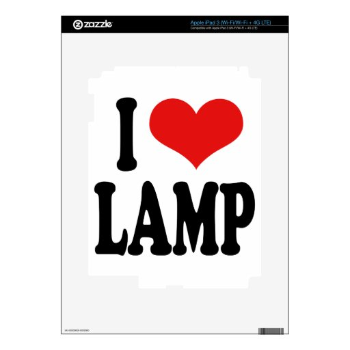 I Love Lamp iPad 3 Decal