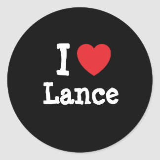 I love Lance heart custom personalized Classic Round Sticker