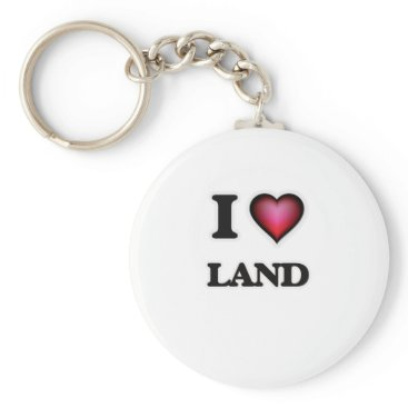 Beach Themed I Love Land Keychain