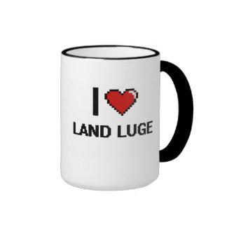 I Love Land Luge Digital Retro Design Ringer Coffee Mug