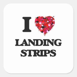 I Love Landing Strips Square Sticker