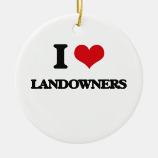 I Love Landowners Double-Sided Ceramic Round Christmas Ornament