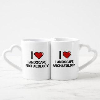I Love Landscape Archaeology Digital Design Couples' Coffee Mug Set