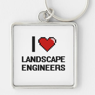 I love Landscape Engineers Silver-Colored Square Keychain