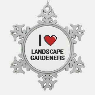 I love Landscape Gardeners Snowflake Pewter Christmas Ornament