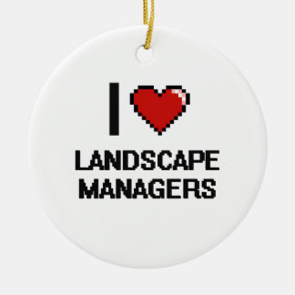I love Landscape Managers Double-Sided Ceramic Round Christmas Ornament