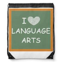 I Love Language Arts Drawstring Bag