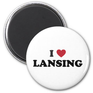 I Love Lansing Michigan 2 Inch Round Magnet